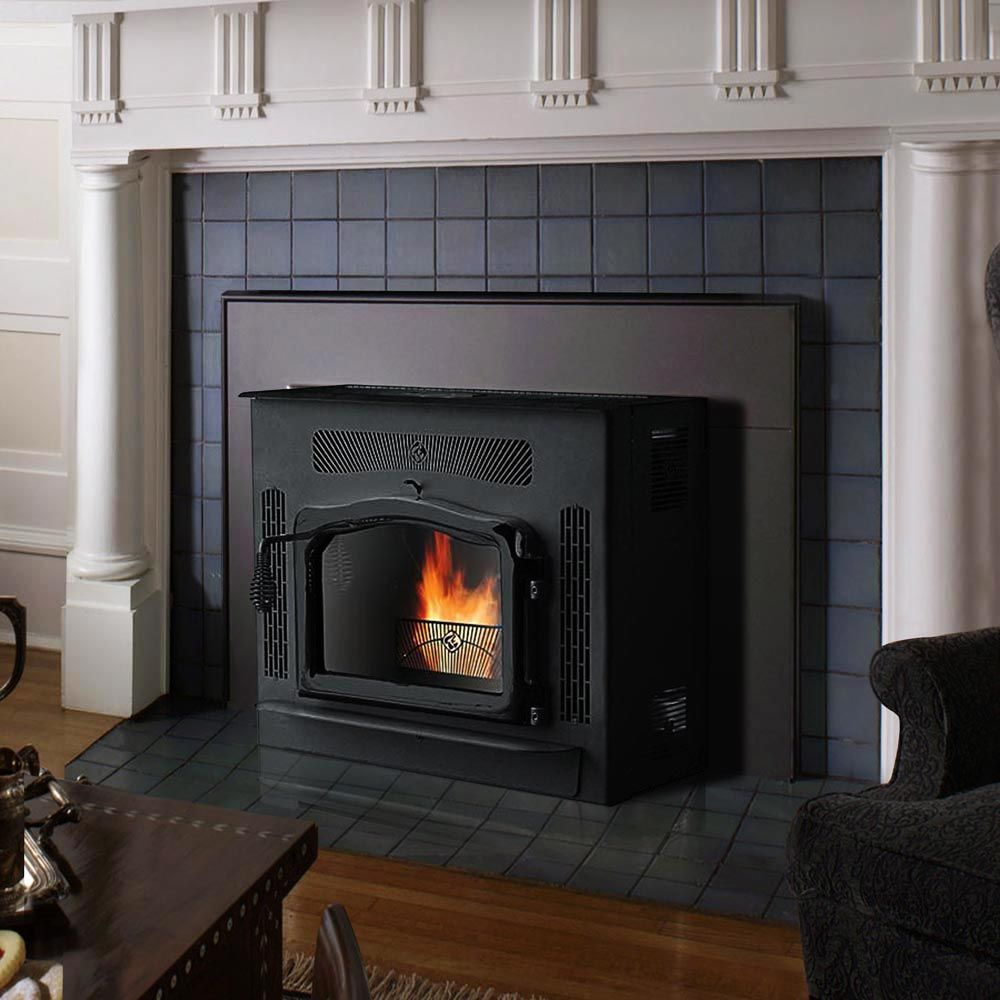 Country flame crossfire flexfuel fireplace pellet insert with black
