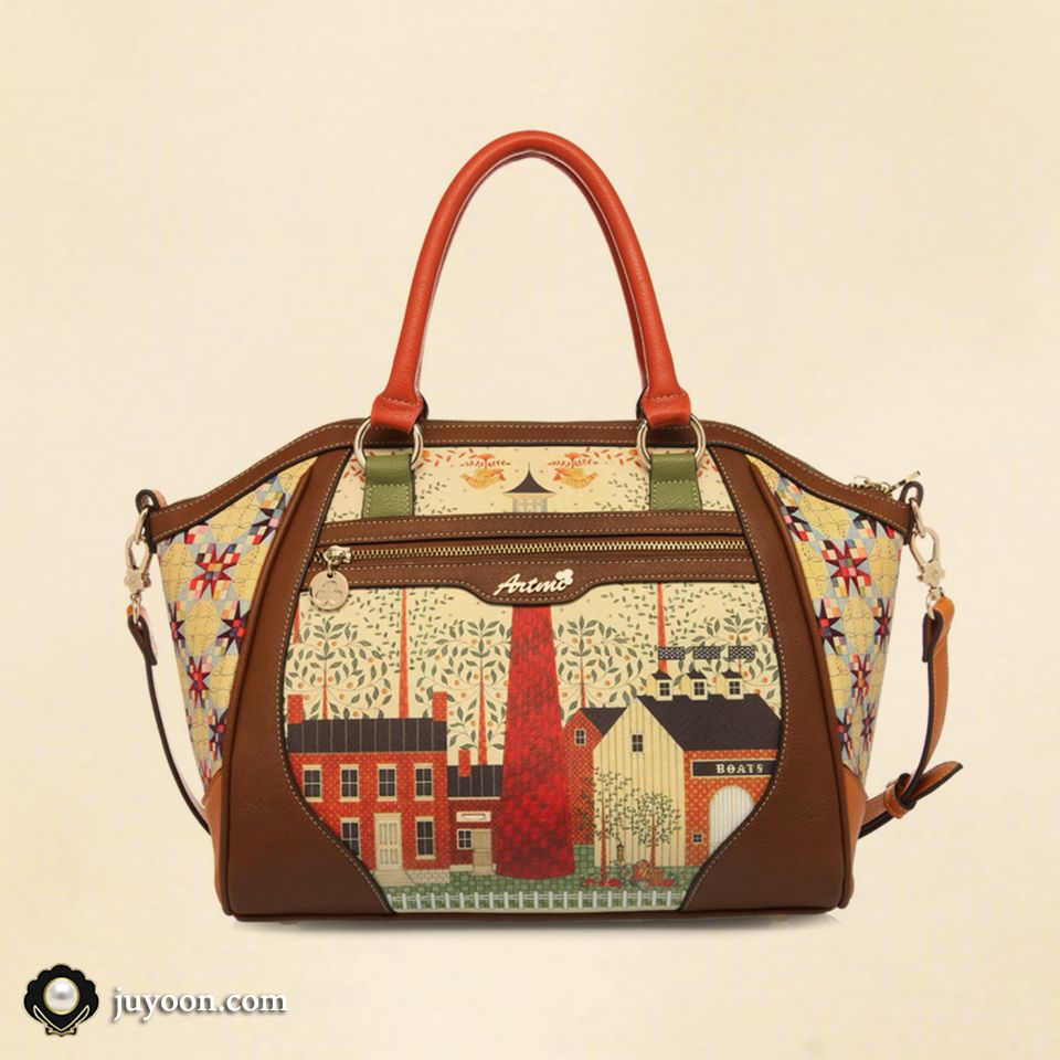 Printed Leather Gradient Brown Handbag Modern Elegant And Funny Character A Special Design For Your Stylishness Women Hand Bag Women Handbags Bags Duffle