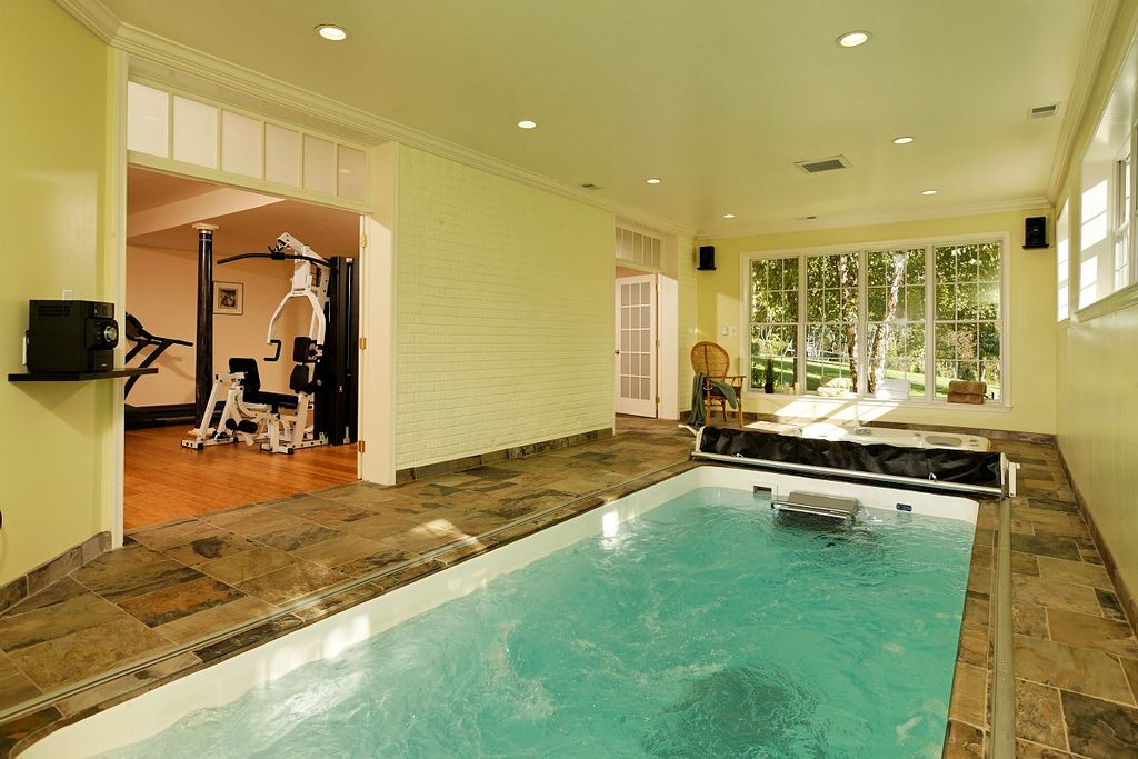 A Great Addition To Any Home Gym Swim At Home With A Fiberglass Endless Pool Www Endlesspools Com Indoor Pool Design Small Indoor Pool Indoor Pool House