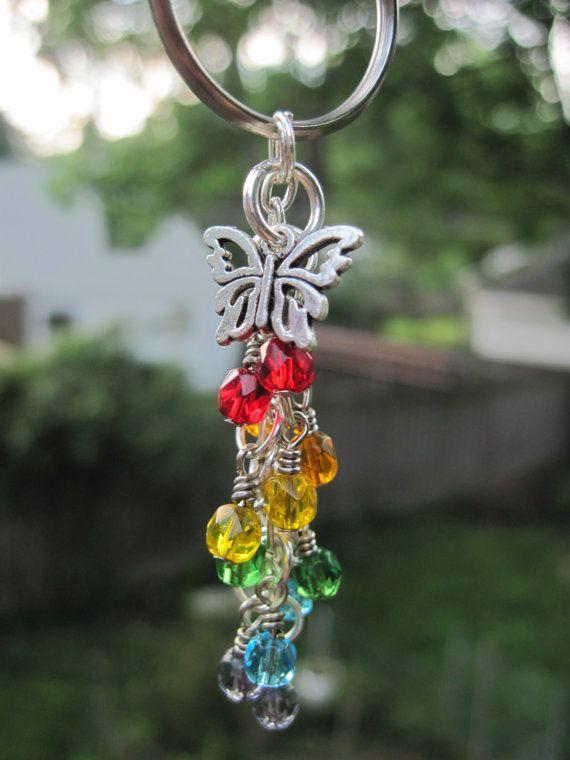 Rainbow Fire Polished Glass Beads Mini Dangle / Key Chain by FoxyFundanglesByCori, $5.00
