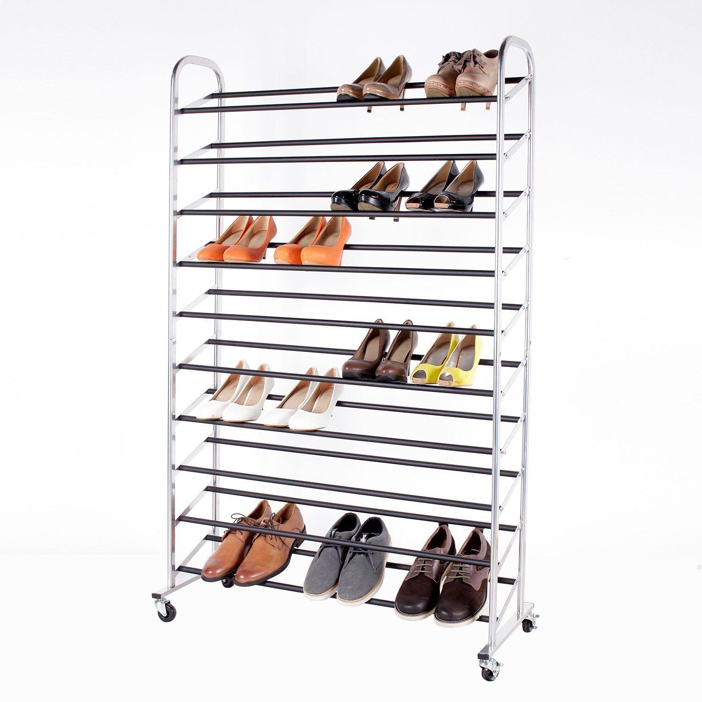amazoncom 50pair rolling shoe rack