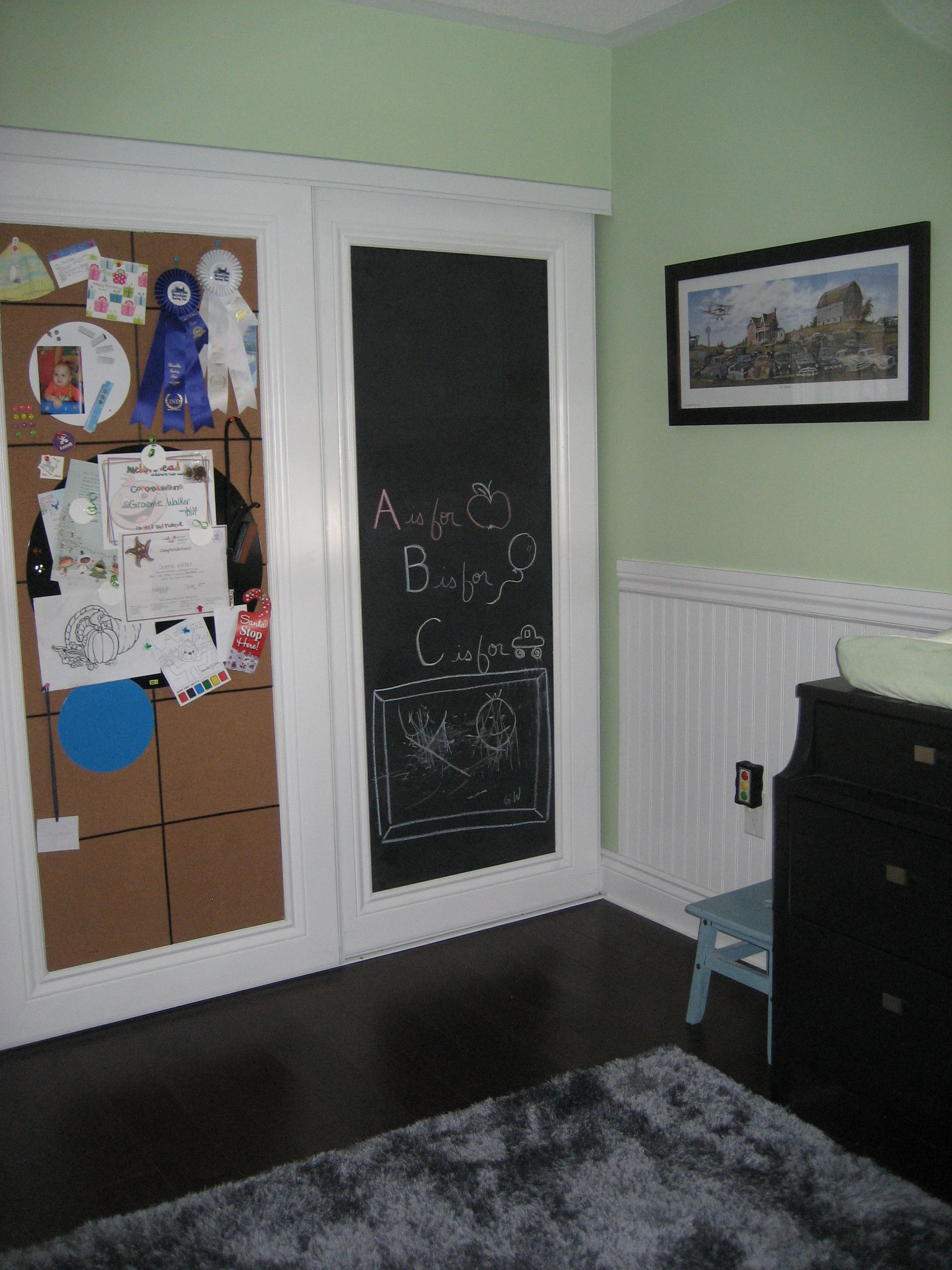 Idea For Sliding Closet Doors Use Chalk Board Paint And