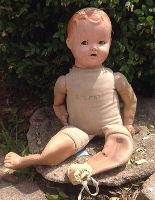 """1920's Doll Composition Doll Antique Doll Flossie Flirt """"tickle toes"""" Doll Antique Ideal Doll"""