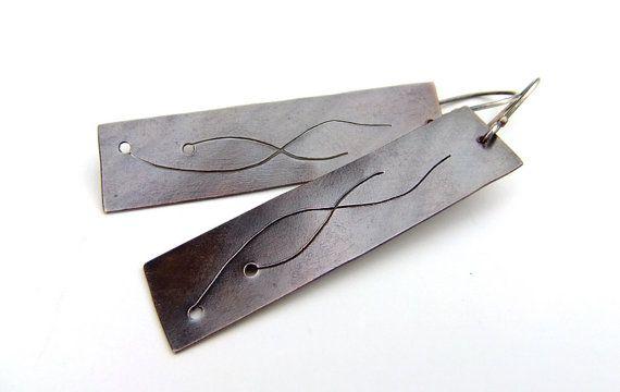 Copper earrings with sterling silver earwire Rustic dark by alery, $24.95
