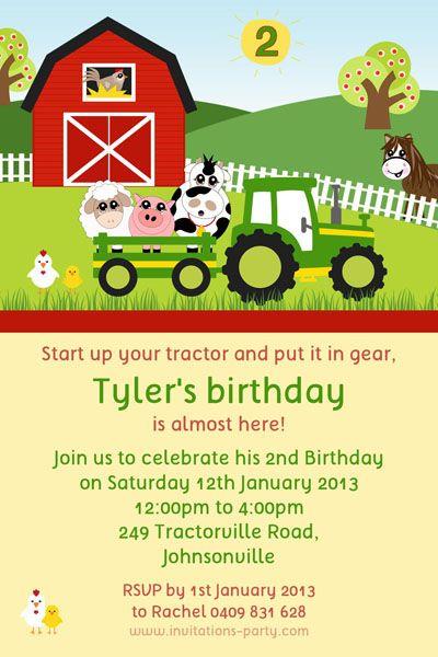 Farmyard Tractor Party Invitation Farm Party Pinterest Party
