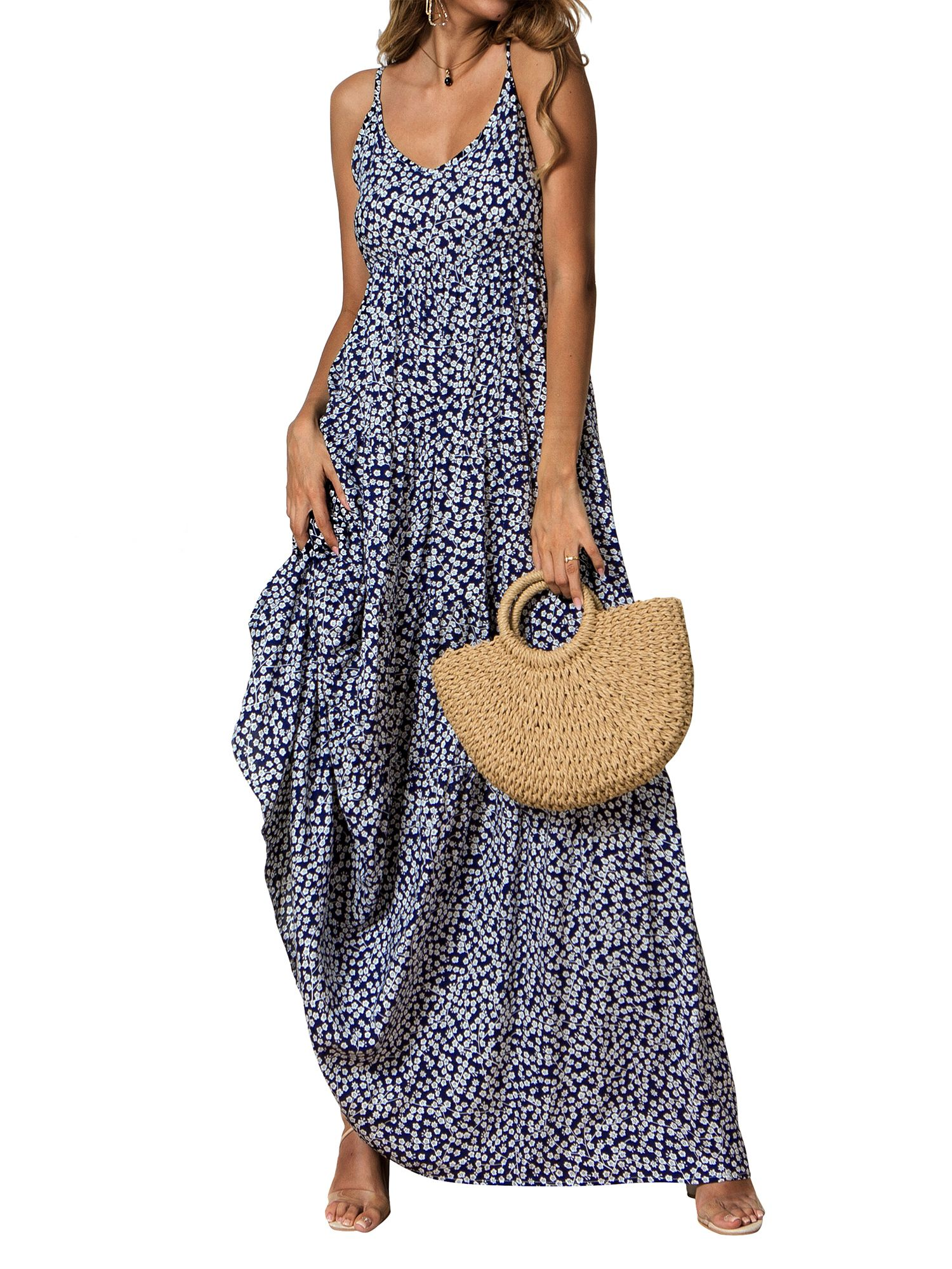 Picked Up From Walmart Free 2 Day Shipping Buy Beach Floral Print Long Maxi Dresses For Women Sleeveless S Womens Maxi Dresses Maxi Dress Women Long Dresses [ 2000 x 1500 Pixel ]
