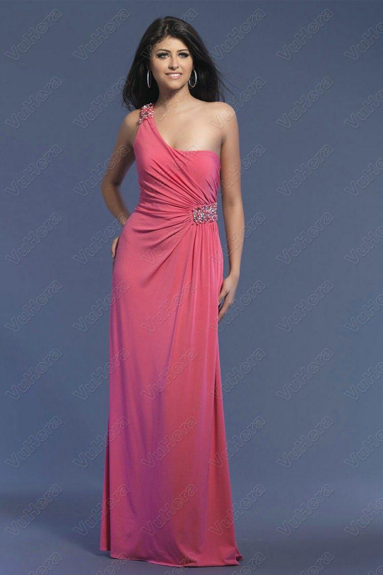 One Shoulder Pink Prom Dress