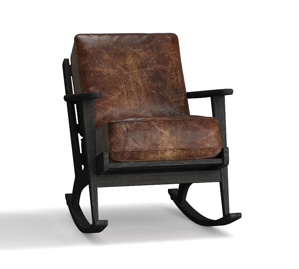 Raylan Leather Rocking Chair Down Blend Wrapped Cushions Signature Chalk Upholstered Rocking Chairs Rocking Chair World Market Dining Chairs