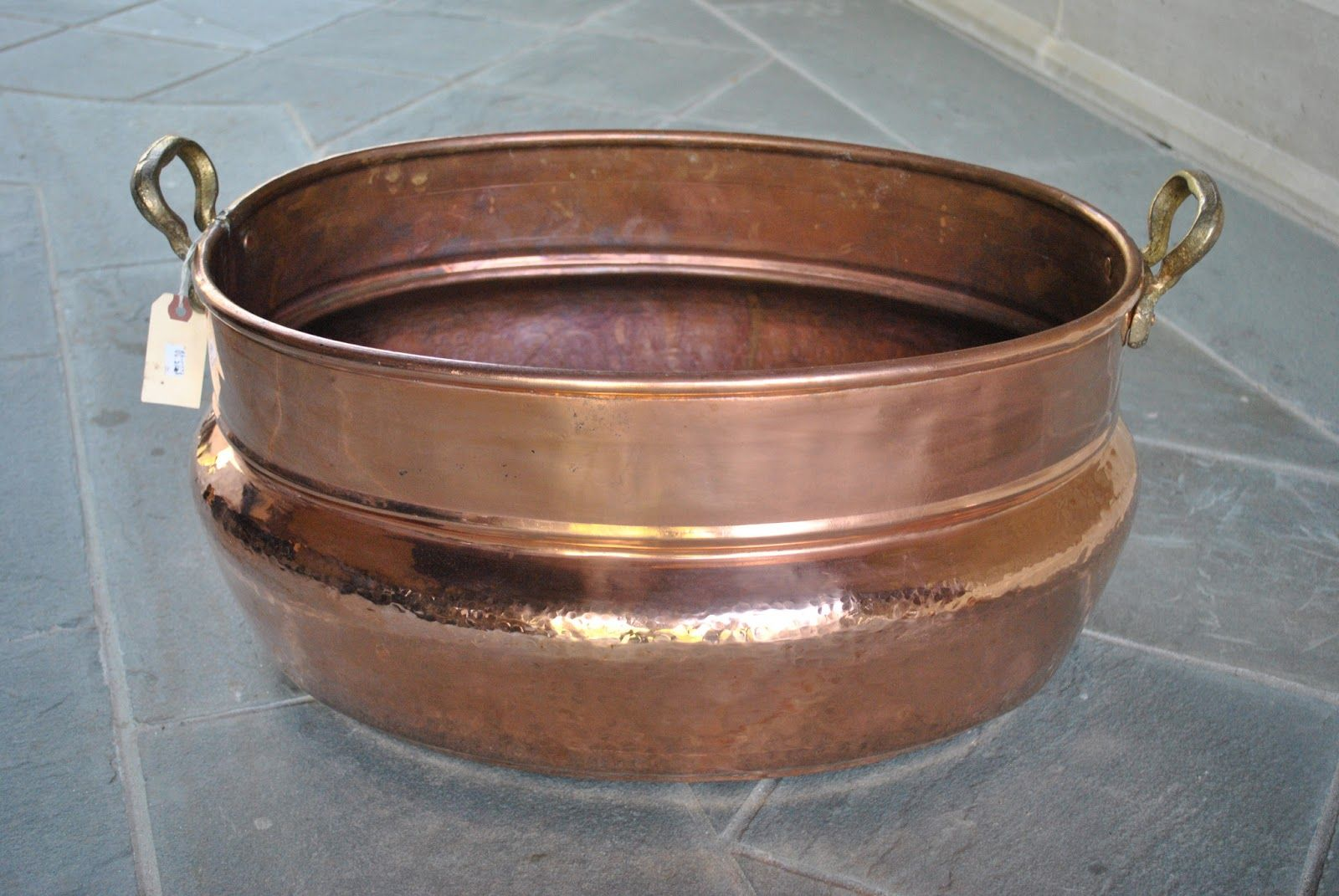 Copper Cook Pot with gorgeous handles.  Repurpose as a top mount sink and have a gorgeous powder bath!