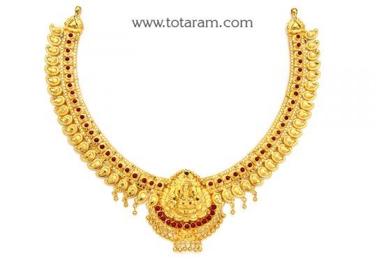 22K Gold Lakshmi Necklace Totaram Jewelers Buy Indian Gold
