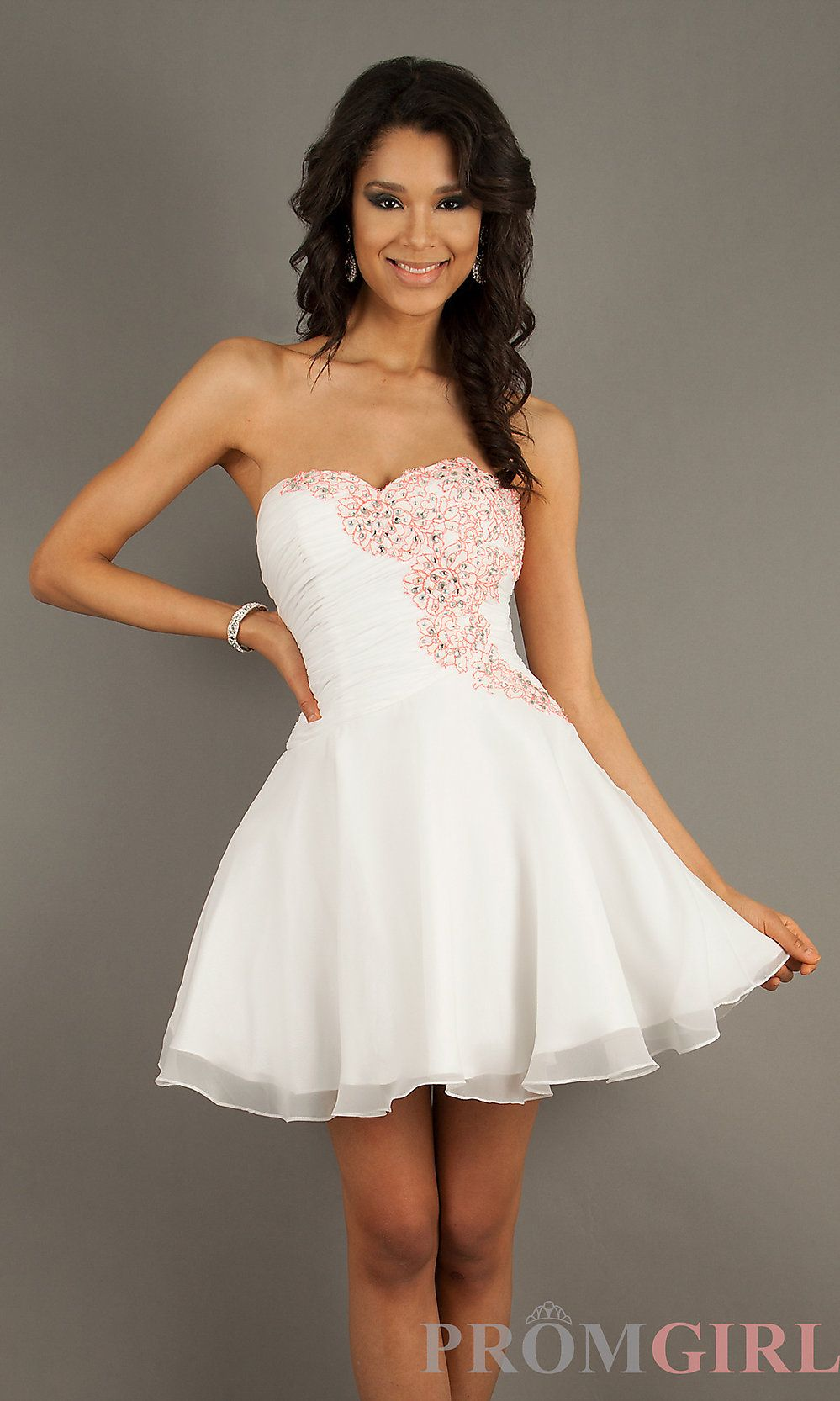 Prom Dresses, Evening Gowns at PromGirl: Short Strapless White ...