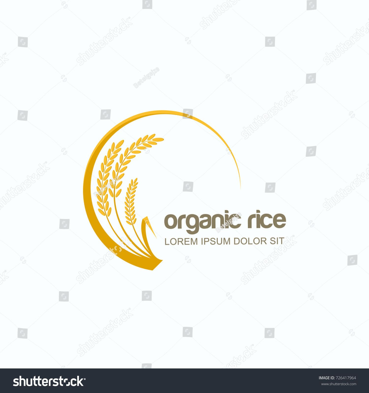 vector logo label or package circle emblem with yellow rice wheat rye grains design template for asian agriculture organic cereal products  [ 1500 x 1600 Pixel ]
