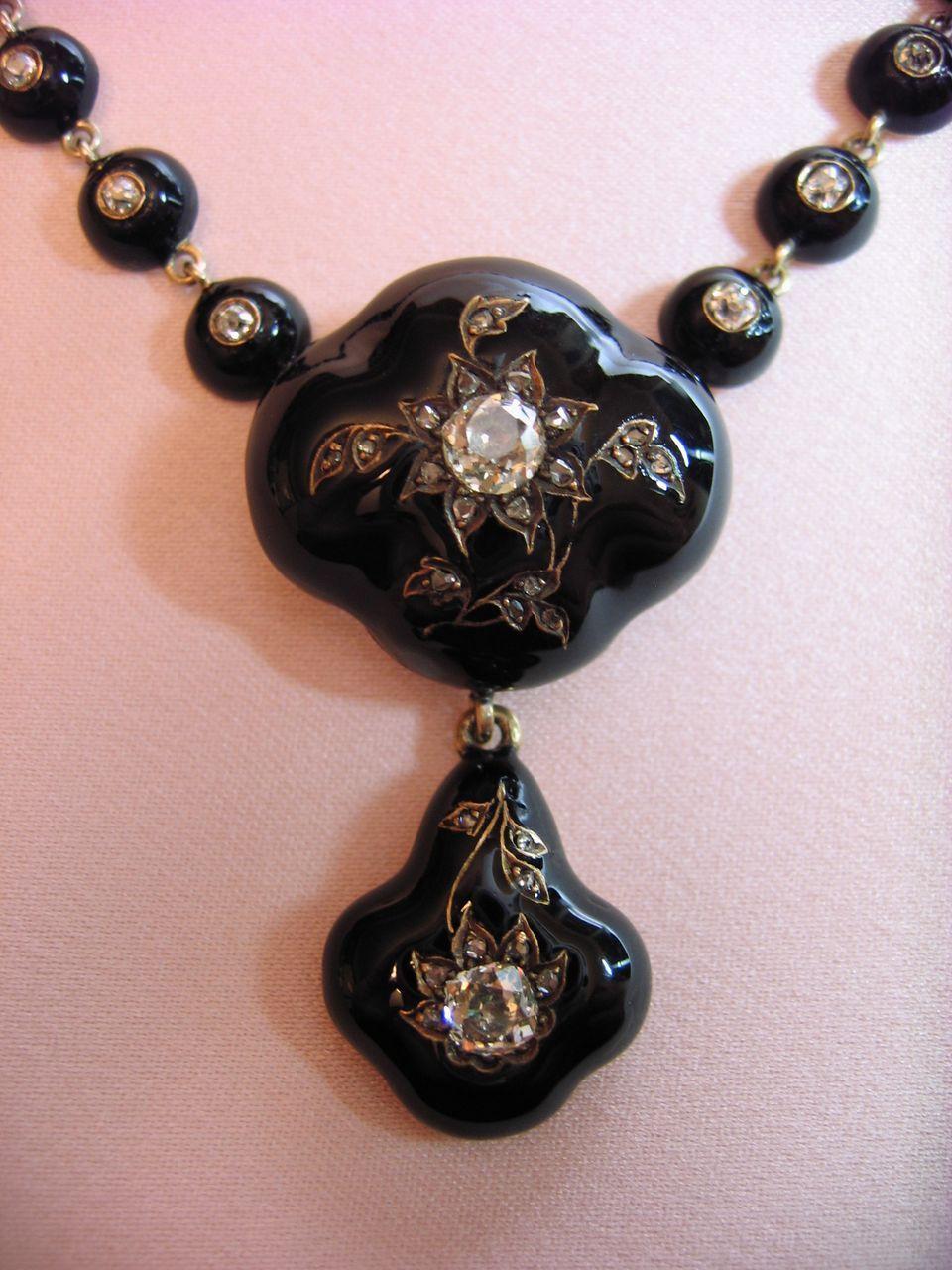 Victorian Era European Cut  Diamond And Enamel Necklace, 18 Karat