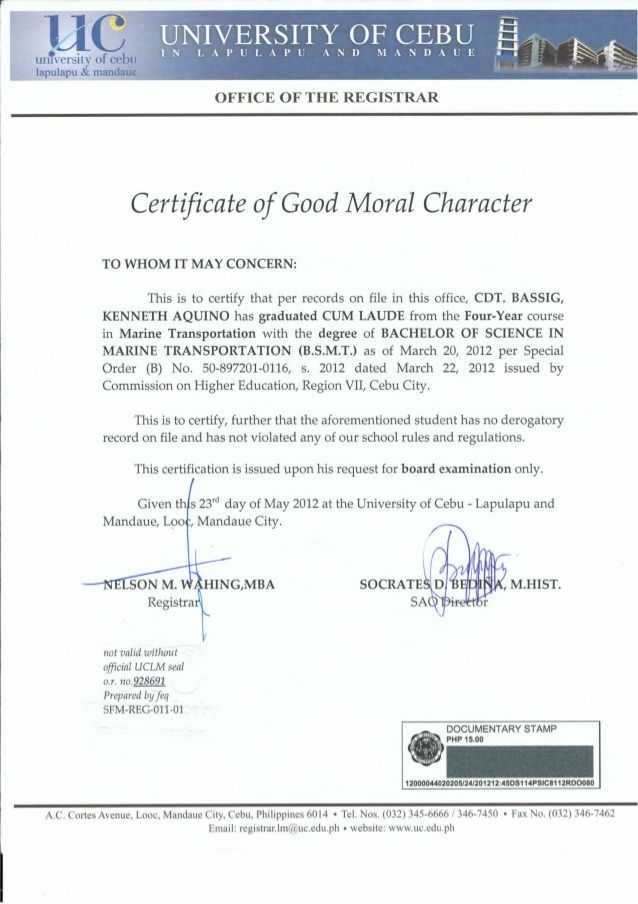 Good Moral Character Heading Certificate Sample Business Letter