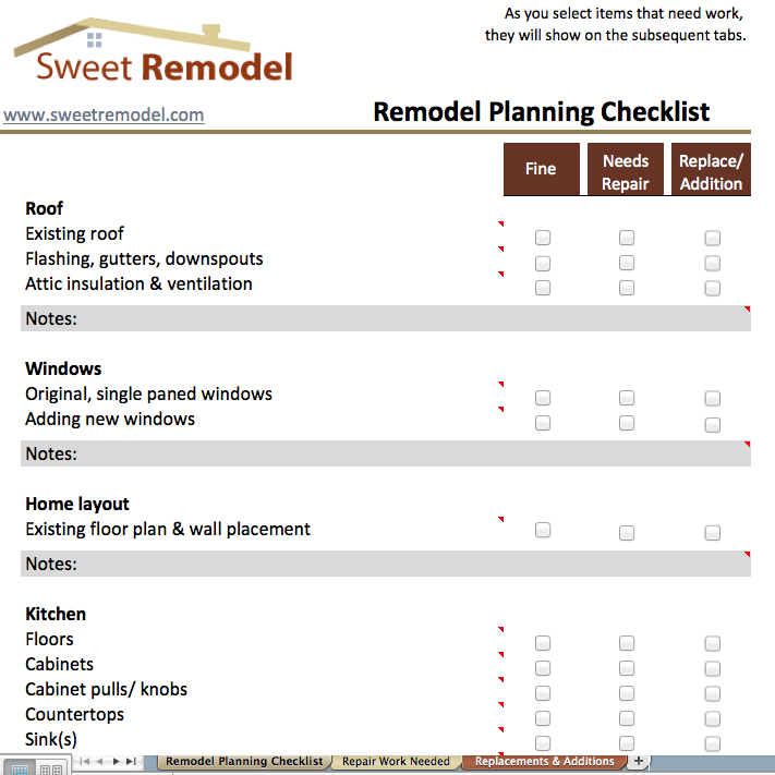 Remodel planning checklist checklist to go through when for Custom home estimate template