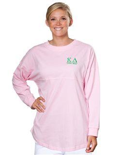 Kappa Delta Seersucker Jersey www.sassysorority.com. #KD #seersucker #kappadelta #jersey #sassysorority #preppy #bidday #suckerforseersucker #gogreek #sororitygift #sororitymerchandise