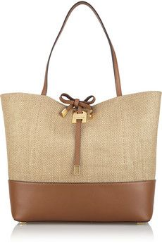 4954a107b9ee Michael Kors Miranda large canvas and leather tote