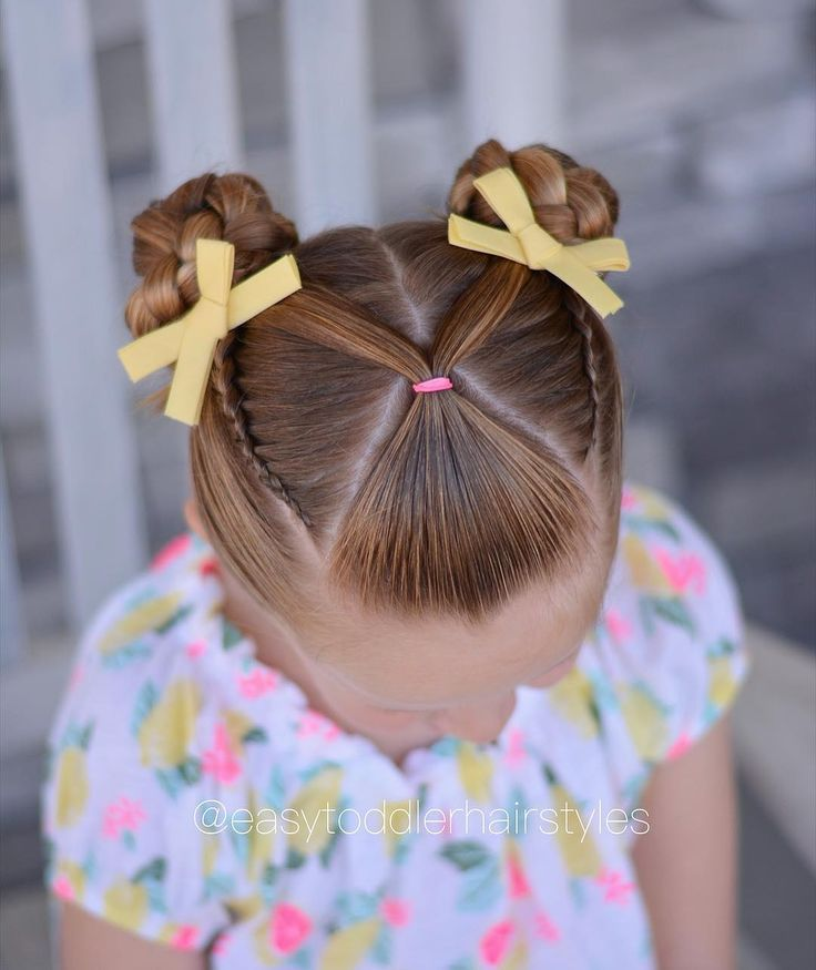 Front V ponytail, lace Dutch braids and braided buns. This style was inspired by @little_princess_hairstyle. Her account is one of my… - #braided #braids #dutch #front #inspired #ponytail #style - #frisuren #braidedbuns