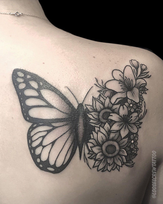 Butterfly And Flower Tattoos : butterfly, flower, tattoos, Butterfly, Flowers, Tattoos,, Flower, Tattoo, Drawings,, Tattoos, Women