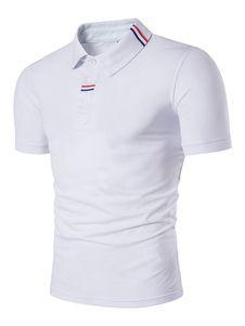 Polo de algodón mezclado de cuello vuelto de color-blocking con manga corta  estilo informal Modelo Estándar para ocasión informal e587044de7