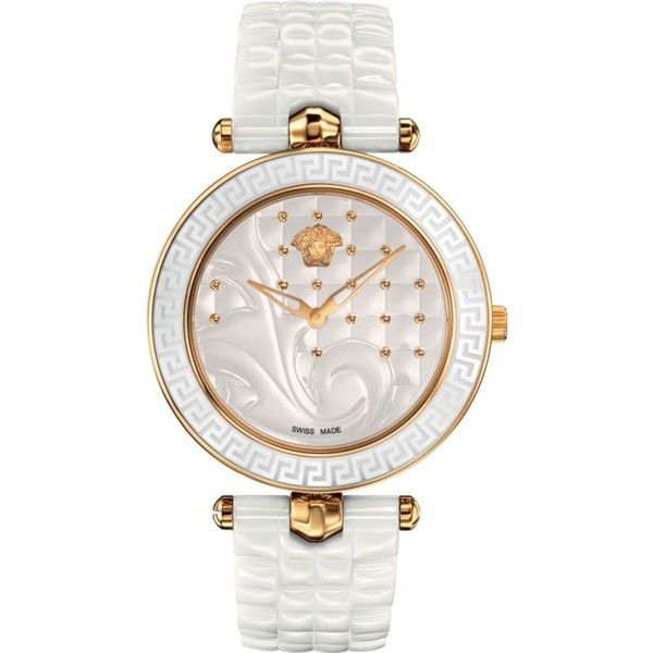 2130c1112b59 Versace VAO030016 Vanitas gold-plated ceramic and leather watch ( 1,730) ❤  liked on Polyvore featuring jewelry, watches, leather wrist watch, ...
