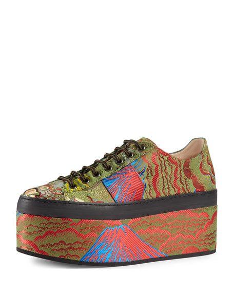 d9b2ba1b376 GUCCI Peggy Jacquard Platform Sneaker
