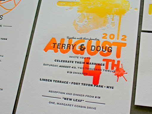 fluorescent wedding invitations modern wedding