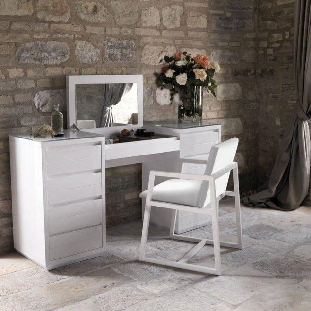 moderner design schminktisch weiss holz aufklappbarer spiegel