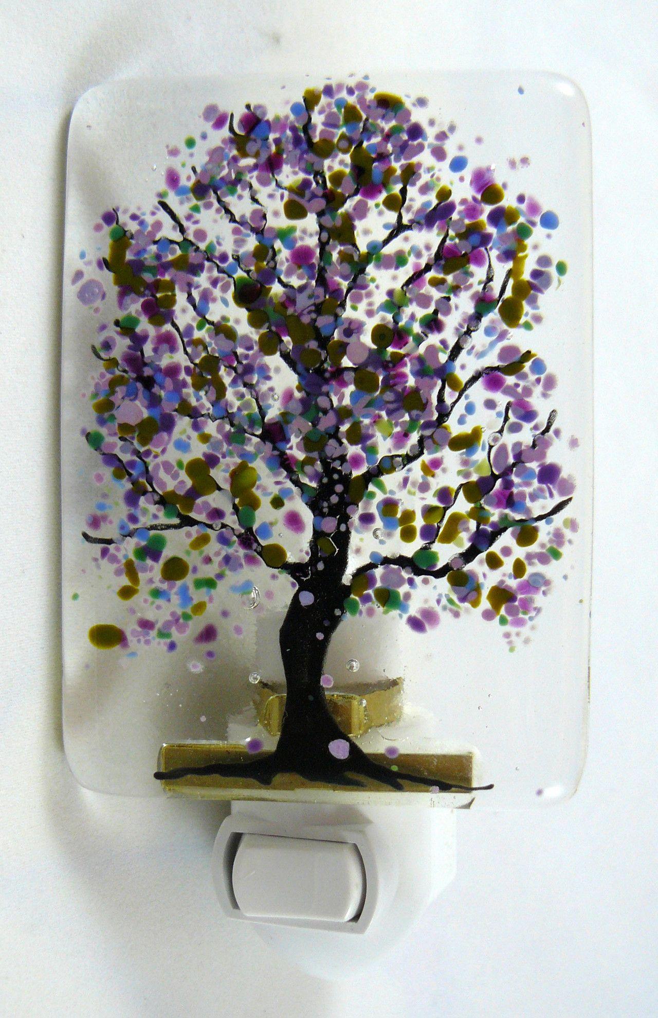 Fused glass purple flowered night light draw the