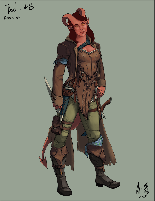 d d character commission anirali tiefling rogue on the run from a