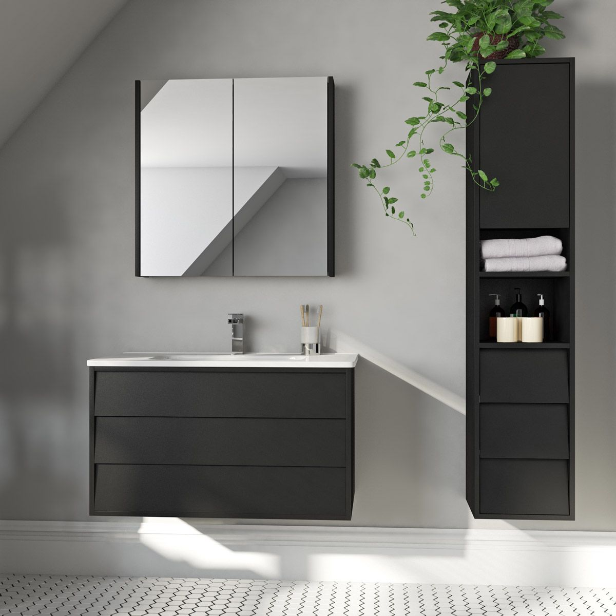 Mode Cooper Anthracite Black Furniture Package With Wall Hung Vanity Unit 800mm Wall Hung Vanity Furniture Packages Vanity Units