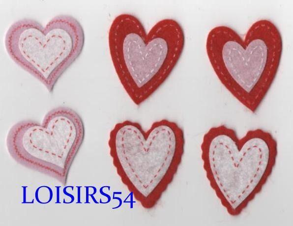 Coeur feutrine rouge, blanc, rose, 35 mm autocollant lot de 6 pièces pour décoration : Déco, Customisation Textile par loisirs54 http://www.alittlemercerie.com/deco-customisation-textile/coeur_feutrine_rouge_blanc_rose_35_mm_autocollant_lot_de_6_pieces_pour_decoratio-5022067.html