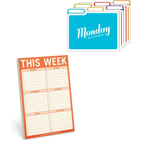 KNOCK KNOCK Days of the Week Folder & 'This Week' Notepad Set ($12) ❤ liked on Polyvore featuring home, home decor and stationery