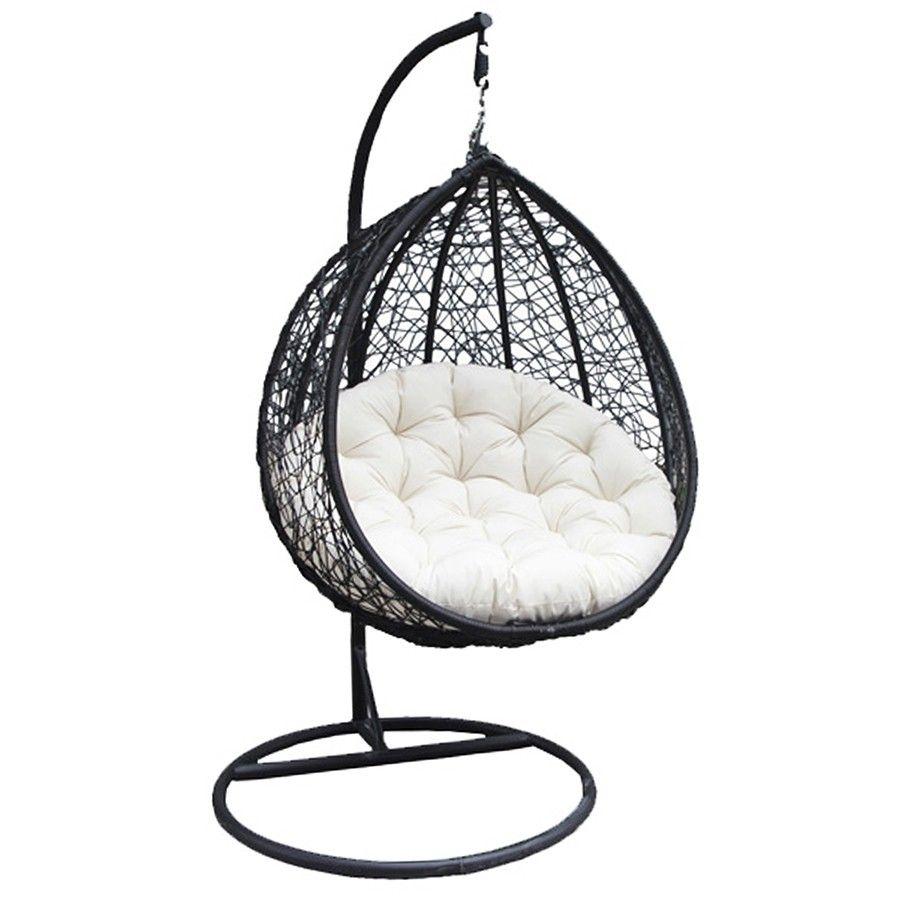 Charles bentley hanging swing chair seat black u cream home