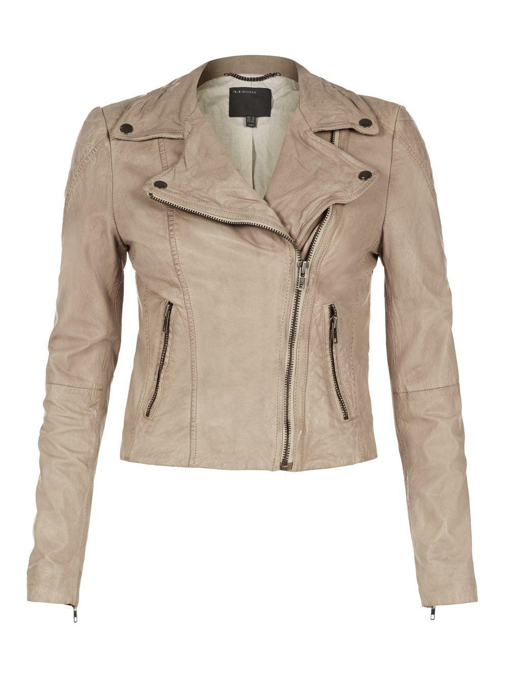Muubaa Indus Beige Leather Jacket Slightly Cropped Trendy Jackets Beige Leather Jacket Jackets [ 1334 x 1000 Pixel ]