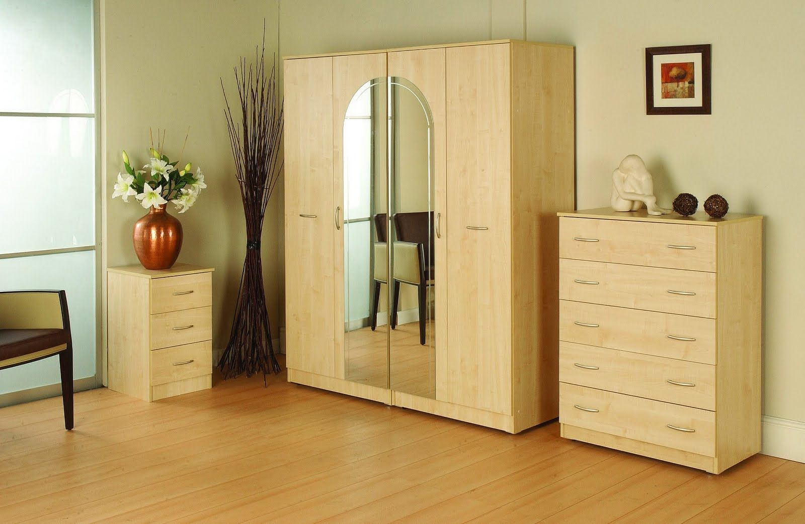 Cute Cream Color Wooden Free Standing Closet With Mirrored Door