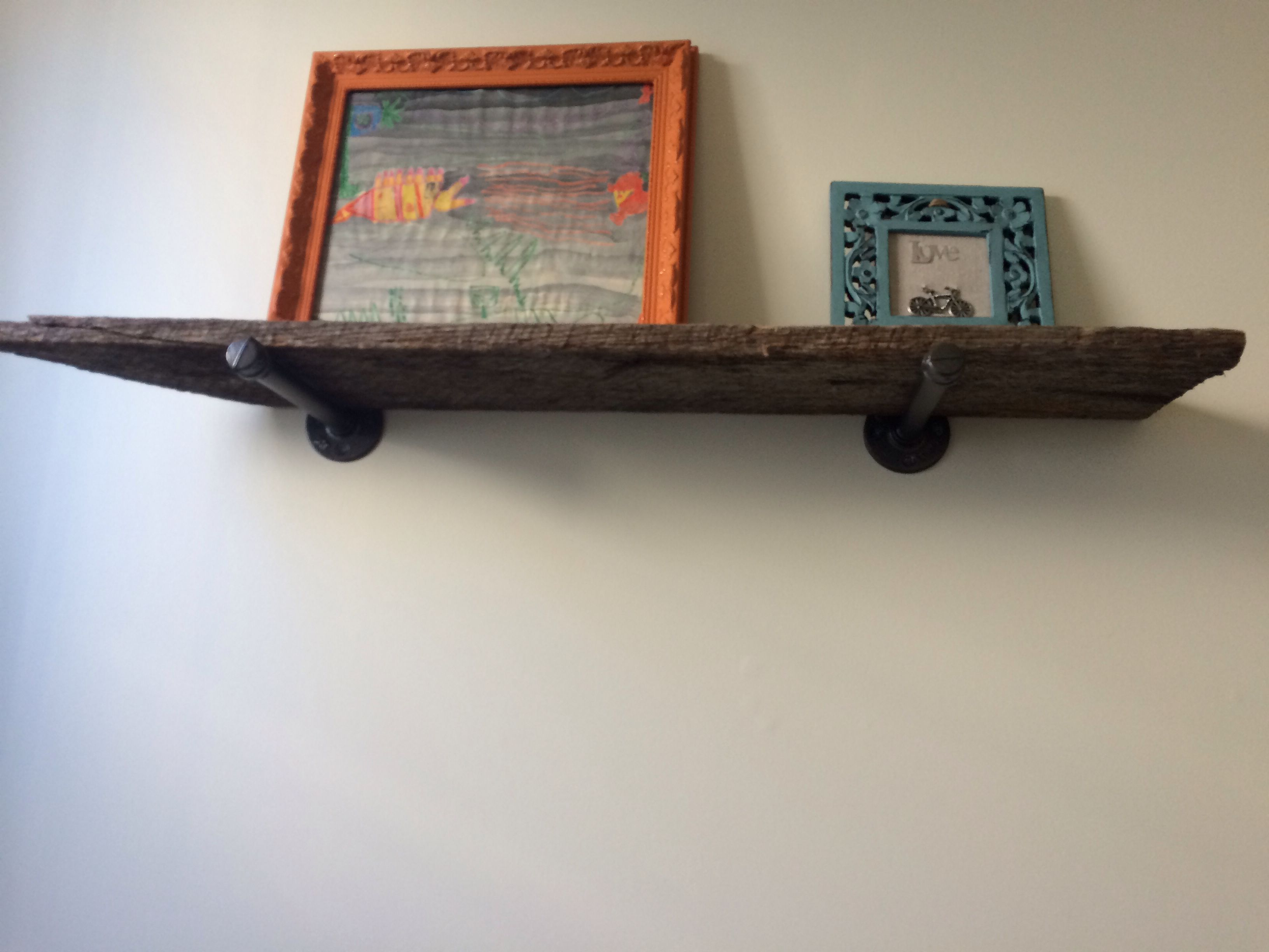 Shelf from antique weathered barn siding and plumbing supplies ...
