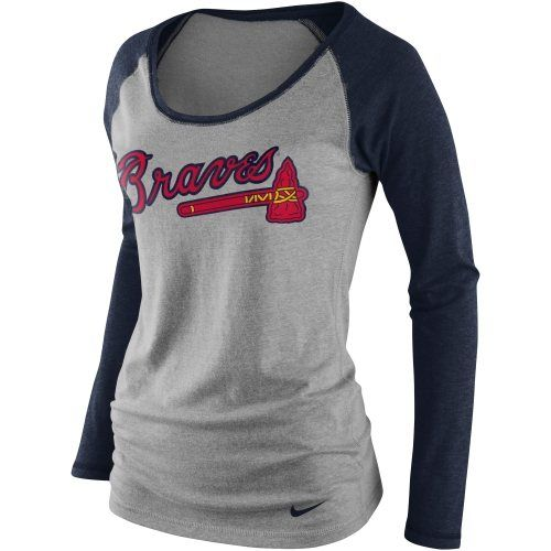 promo code b6458 2c919 Nike Atlanta Braves Women's Boat Neck Raglan Long Sleeve Tri ...