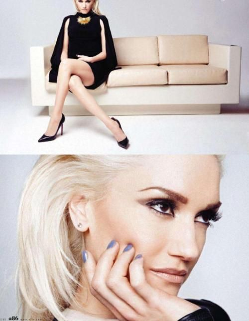 lilac nails, nude lips, and serious eyeliner    Gwen Stefani - Elle by Dusan Reljin