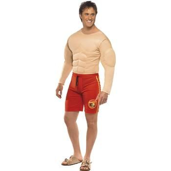 Adult Menu0027s Baywatch Lifeguard Costume with Muscle Chest and Attached Shorts for Baywatch Fancy Dress  sc 1 st  Pinterest & BAYWATCH LIFEGUARD COSTUME $30.99 | Baywatch Fancy Dress Costumes ...