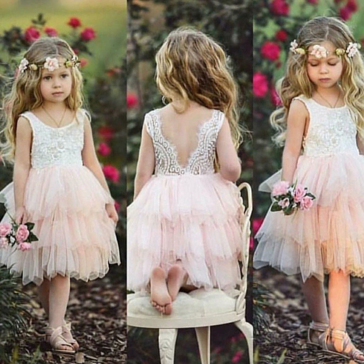 New Flower Girl Princess Dress Kid Party Wedding Pageant Lace Tulle Tutu Dresses