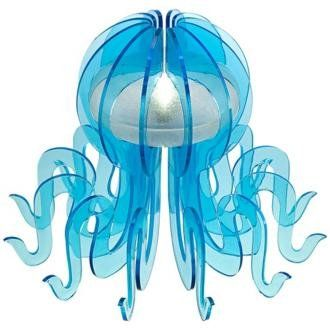 Octopus-shaped blue LED accent lamp