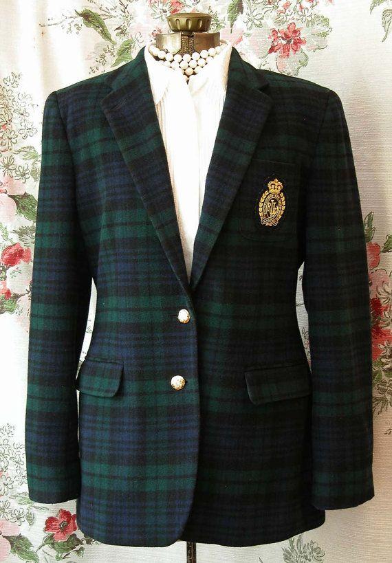 37b5f370a6 Vintage Ralph Lauren Black Watch Plaid Wool Blazer - Large Gold ...