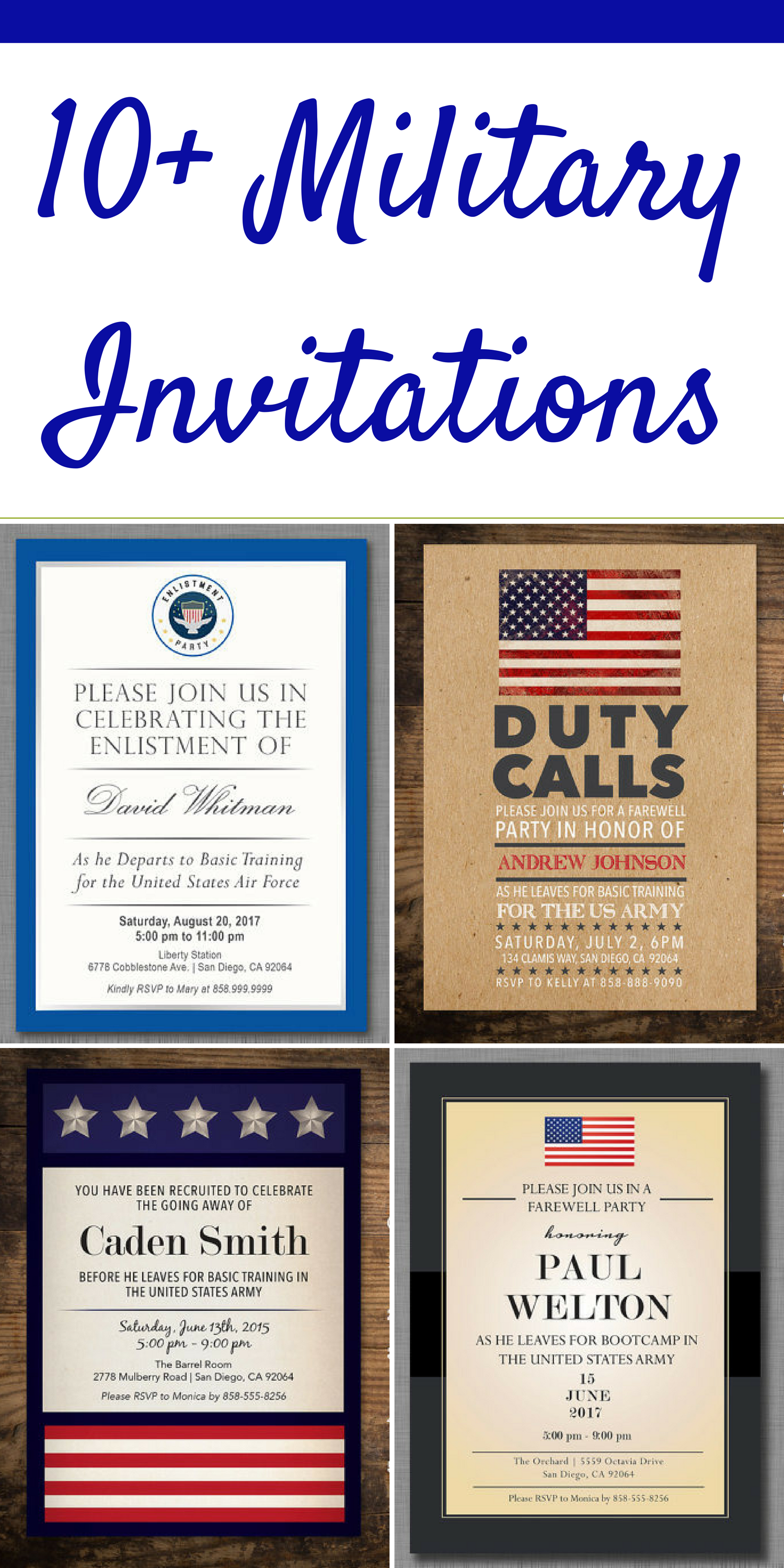 Large selection of invitations for military events! Fully customizable for events such as deployments or retirement parties! #ad #military #party #deployment #retirement
