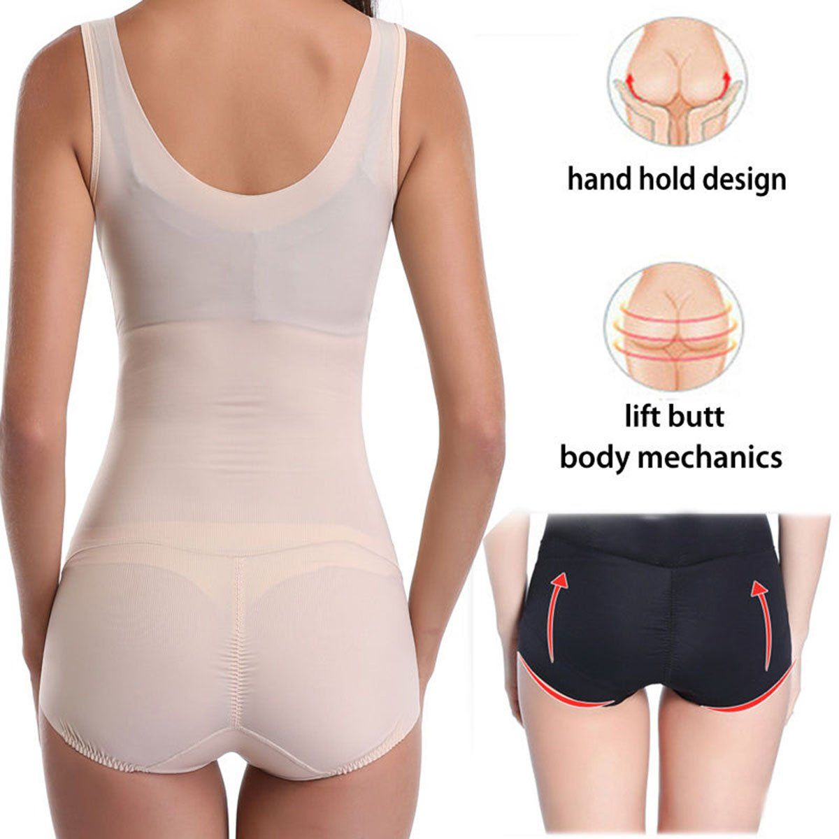 6646a73a547 MISS MOLY Women Full Body Shaper Waist Training Black Bodysuit Shapewear  Underbust Corset Beige XL