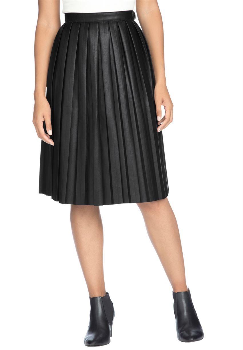 df5045de8e6 Jessica London® Pleated Faux Leather Skirt