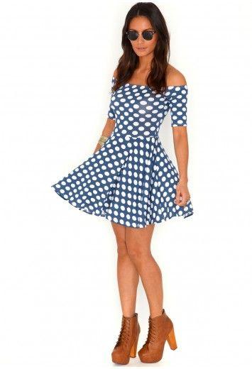 Adele Short Sleeve Polka Dot Bardot Skater Dress - dresses - skater dresses - #missguided £14.99