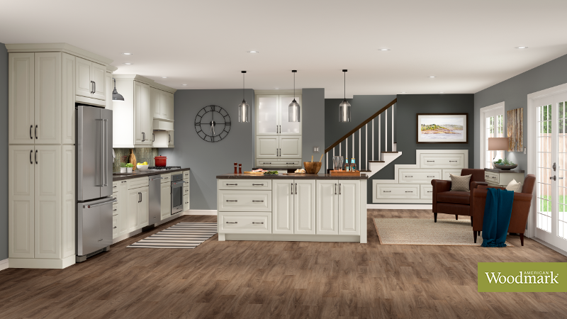 Superb Portola Painted Harbor Kitchen By American Woodmark Beutiful Home Inspiration Cosmmahrainfo