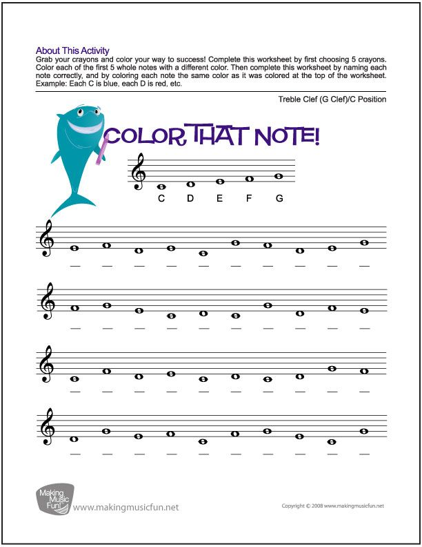 Color That Note Free Note Name Worksheet Treble Clef C