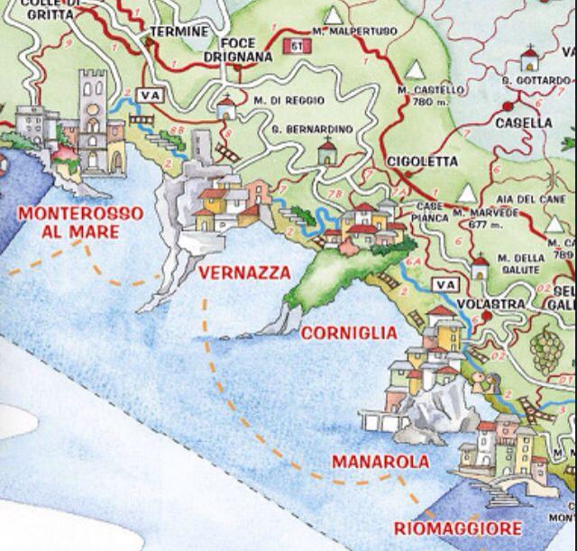 Cinque Terre Cinque Terre Italien Italien Karte Cinque Terre
